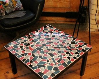Squared unique mosaic coffee table