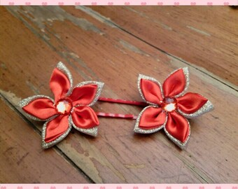 Bobby pins - set of 2 Christmas flowers