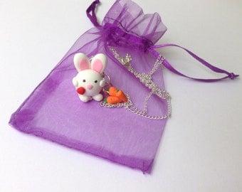 Easter gift easter bunny polymer clay bunny rabbit charm cute kawaii love gift for her necklace animal charm white rabbit
