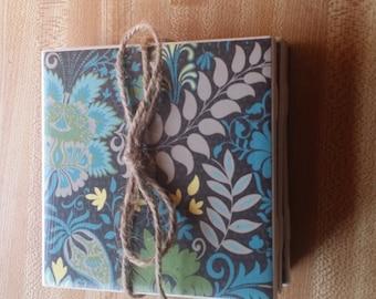 Set of 4 blue floral coasters