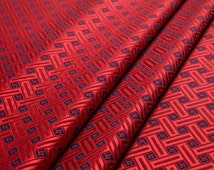 Free shipping: 39momme jubilant red heavy silk fabric, jacquard diamond, sew for dress and pants material, 100%silk, sell by the yard