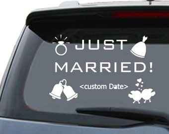 """Just Married Window Graphics - 6"""" x 6"""" 