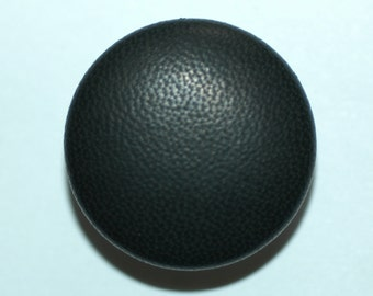 """1 1/2"""" Black Leather Covered Button. (38mm)"""