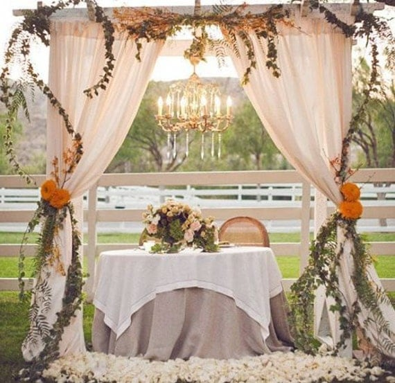 2 Champagne Wedding curtains, Home Decor, Photography Prop, Wedding backdrop, Outdoor wedding, Cotton Blend, Custom made curtains