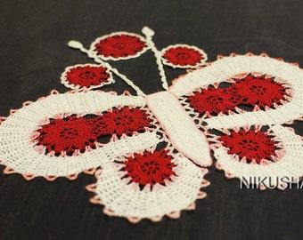 Napkin Butterfly - White & Red - Free shipping - Acrylic Yyarn-Knitting-handmade