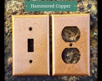 Hammered Copper Wall Plates (Switch/Outlet Covers) - Antique Switch Plates - Metallic Wall Decor - Rustic Outlet Plates - THE BARKING GOOSE