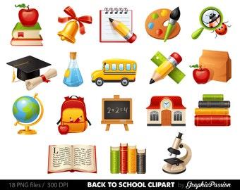 Kids at School clipart School clipart Back to school teacher clipart school bus stationary school supplies