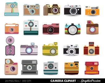 Camera Clipart Digital Photography Graphics Commercial Use for Photographers with Colorful Polka Dots and Stripes