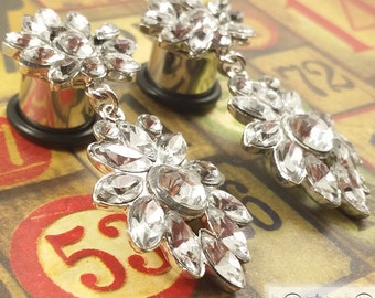"Plugs Gauges - Large Crystal Dangle Plugs - 00ga (10mm), 7/16"" (11mm), 1/2"" (12mm), 9/16"" (14mm), 5/8"" (16mm)"
