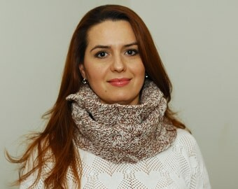 Cable Snood Scarf, Chestnut Brown Cowl Snood Scarf,  Cable Knit Tube,  Tweed Wool Acrylic Snood, Cable Neck Warmer