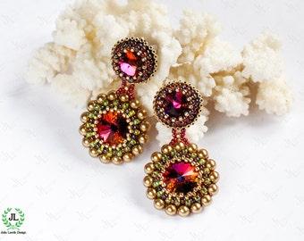 Beadwork  Earrings with Volcano Swarovski crystals and  Swarovski crystal pearls