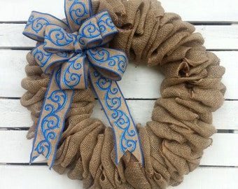 Burlap Wreath, Spring Wreath, Everyday Wreath, Classy, Blue Bow, front door, Summer wreath