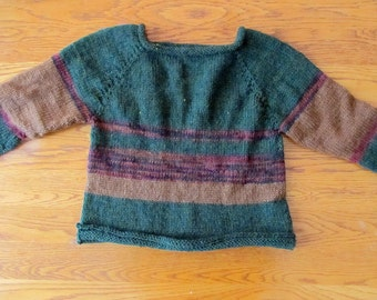 Jewel Tone Hand Knit Child's Sweater