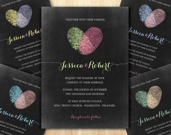 Chalkboard Wedding Invitation, Fingerprint Invitation, Heart Invitation, Chalkboard Invitation, Printable DIY Invitation, Wedding Invitation