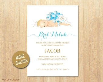 Bris Invitation, Brit Milah Invite, Baby Brit Invitation,Baby Boy Brit Milah Invitation, Blue Bris invite, Yellow Brit Invite