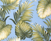 """Promo February Fabric, Upholstery, Tropical Leaf Monstera, Sky Blue, Furniture, Bedding Duvet, Curtains Cushions 56""""Wide by the Yard HCV9330"""