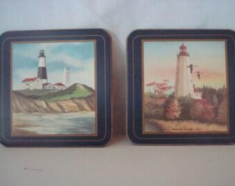 Vintage Pimpernel coasters - 6 famous lighthouses