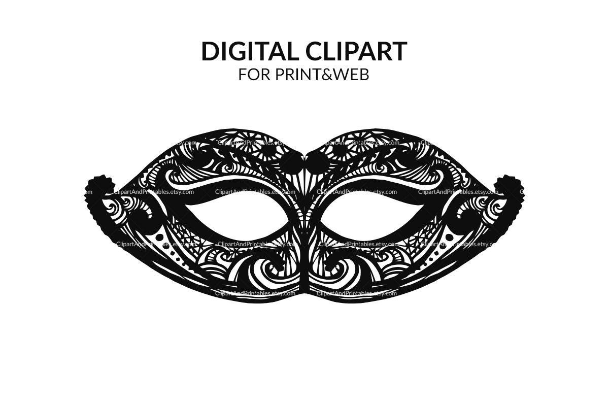 Carnival mask digital clip art. Printable masquerade mask.