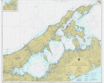 Shelter Island Sound Map & Peconic Bay Map - Long Island 1979