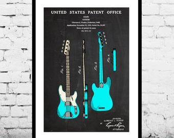 Fender Guitar Patent, Fender Bass Guitar Poster,Fender Bass Guitar Patent, Bass Guitar Print,Fender Bass Guitar Decor, Fender Bass Guitar