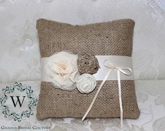 SALE - HENRY - Wedding Ring Pillow - Bearer Ring Pillow - Rustic Wedding Ring Pillow - Vintage Wedding Ring Pillow - Burlap Wedding Pillow