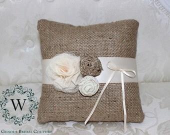 HENRY - Wedding Ring Pillow - Bearer Ring Pillow - Rustic Wedding Ring Pillow - Vintage Wedding Ring Pillow - Burlap Wedding Pillow