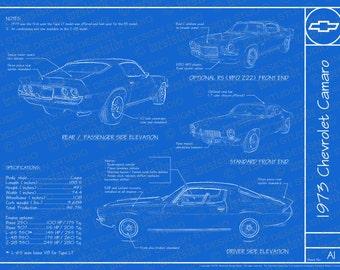 "1973 Chevrolet Camaro blueprint poster 18""x24"" (JPEG image file)"