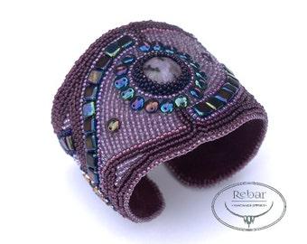 Bead embroidery cuff, purple handcrafted gemstones bracelet with quartz cabochon,  unique handmade beadwork bracelet, handmade jewelry