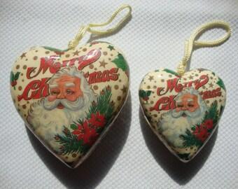 Decoupage Santa Claus Christmas Ornaments Set of 2