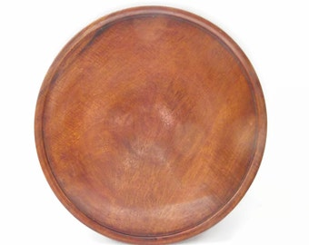 Wood Platter Plate Tray Vintage Hand Turned