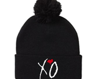 XO Pom Pom Embroidered Beanie Hat The Weeknd Drake YMCMB Minaj Hip Hop One Size Fits Most