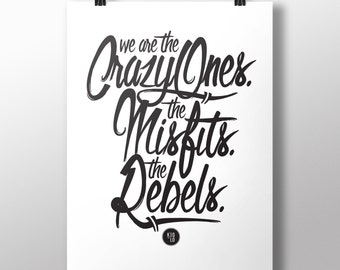 Typography Quote Print Poster: The Crazy Ones / Black - A3 Poster