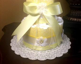 Two tier yellow diaper cake-modern diaper cake