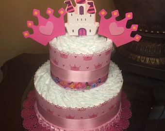Two tier princess diaper cake-pink diaper cake for baby girl