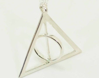 """Deathly Hallows (1 1/2"""") Rotating Spinning Sterling Silver Necklace on Sterling Silver Chain"""