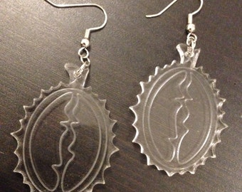 Etched Acrylic Durian Earrings