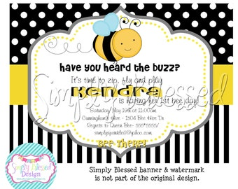 Happy BEE Day Party Invitation - DIY By: Simply Blessed Design