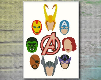 Avengers Cross Stitch Pattern INSTANT DOWNLOAD