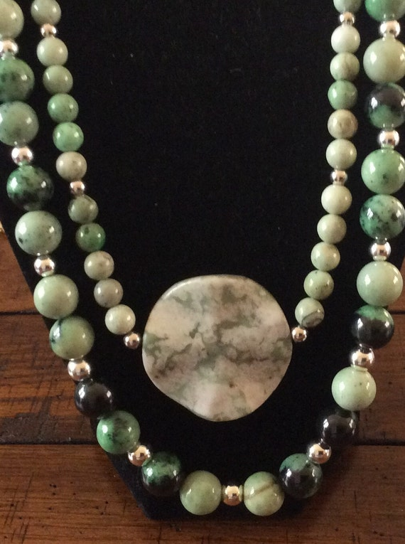 Crazy Lace Agate and Sterling Silver Double-Strand Necklace
