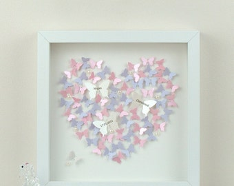 Personalised Wall Art With 3D Paper Butterflies. Beautiful 3D Butterfly Wall Art For A Personalised Gift, Framed Wall Art - Heart Paper Art