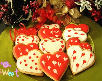 Homemde one dozen Heart Vanilla Sugar Cookies-- Holiday cookies--Royal icing decorated cookies---Mother's day gift