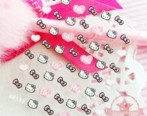 Self Adhesive Light Pink Hello Kitty Bow Heart Nail Art Stickers Transfer Decals  ~ N7-01
