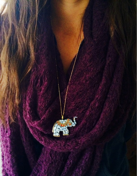 Mother of Pearl Tibetan Elephant Pendant Necklace, gold chain, gold necklace, elephant charm