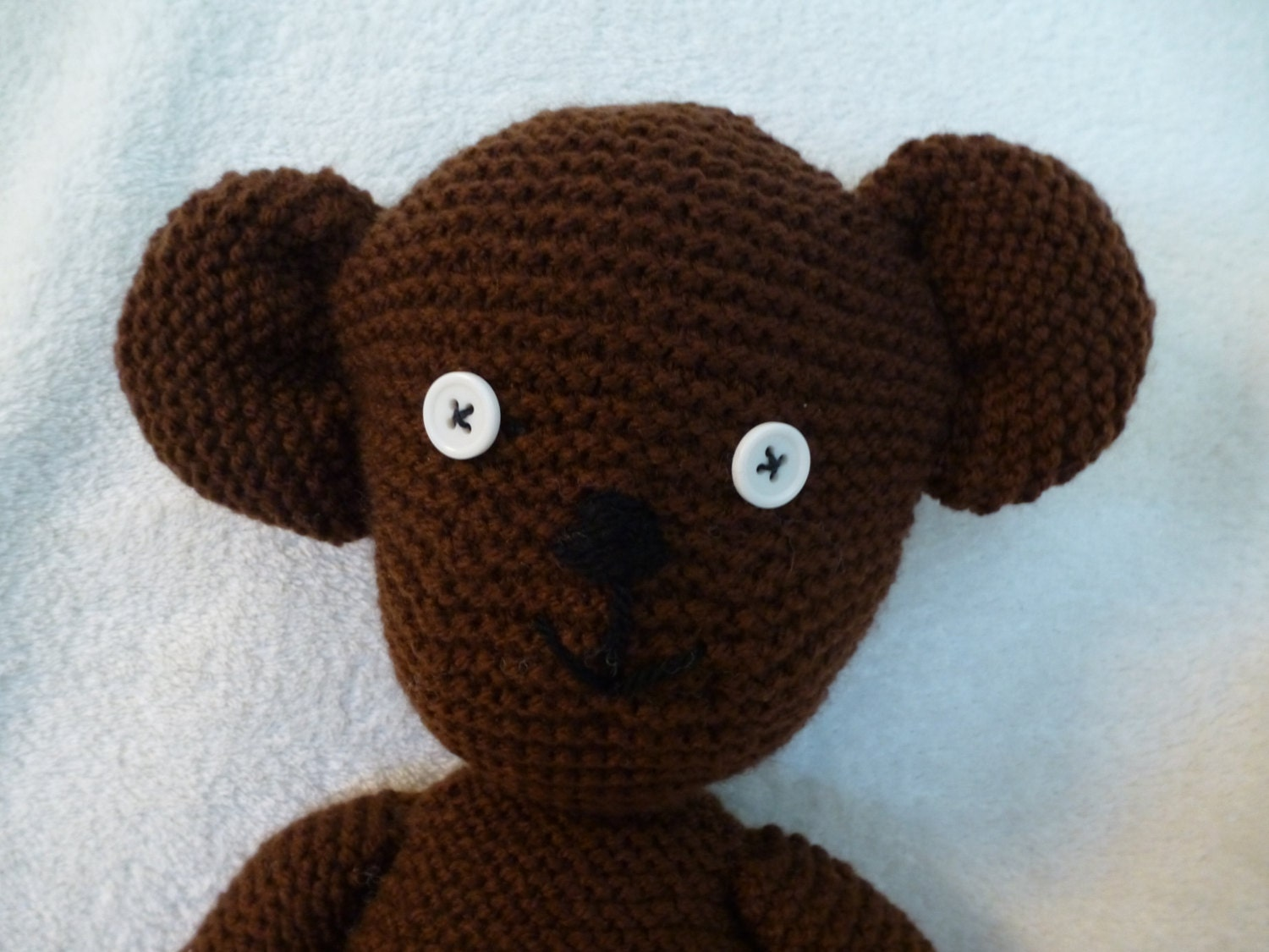 Mr Bean style teddy bear. Hand knitted. Complete with floppy