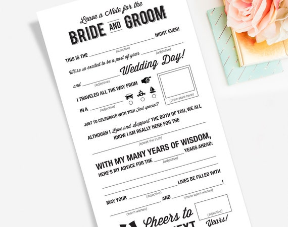 Wedding Mad Libs Printable Template Wedding By