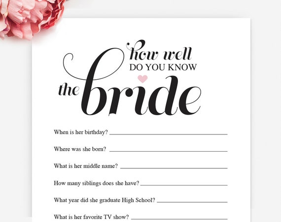 How Well Do You Know The Bride: Unavailable Listing On Etsy