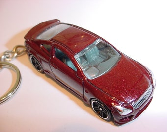 3D Infinity G37 custom keychain by Brian Thornton keyring key chain finished in dark red color trim