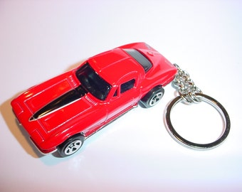3D 1964 Chevrolet Corvette Sting Ray custom keychain by Brian Thornton keyring key chain finished in red color trim metal body stingray 64