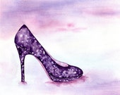 HELIOTROPE, 8 x 10 inches, Fashion Illustration, Watercolor, Painting, Print, Home or Office Décor, High Heel, Shoe Art, Fashion Art