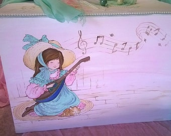 nursery furniture ,hand painted storage wooden box ,Miss Petticoat painting,children's hand painted furniture